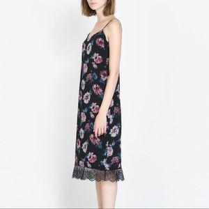 Zara TRF Floral lace hem slip dress Sz small